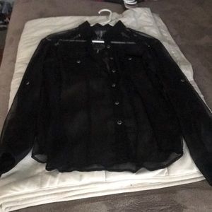 Long sleeved button up sheer black blouse